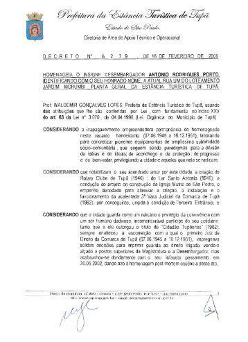 homenageia antonio rodrigues porto - rua - Prefeitura Municipal de ...