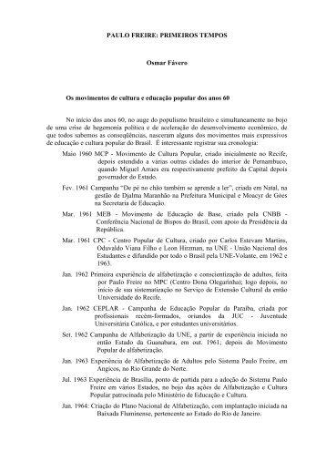PAULO FREIRE: PRIMEIROS TEMPOS - DHnet