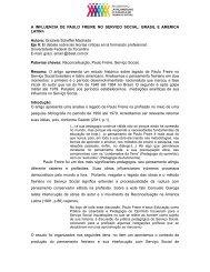 A INFLUENCIA DE PAULO FREIRE NO SERVIÇO SOCIAL: BRASIL ...