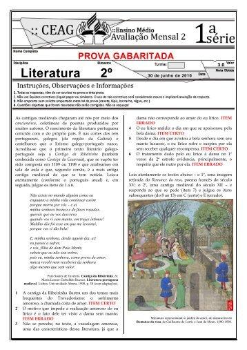 Prova de Literatura do 1° ano _2º bimestre, junho_ GABARITADA