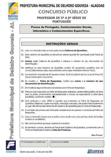 Prova - Professor de 5ª a 8ª série de Português - Copeve