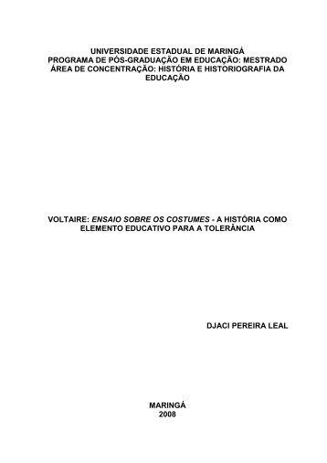 ensaio sobre os costumes - Programa de Pós-graduação em ...