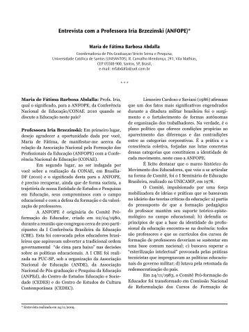 Entrevista com a Professora Iria Brzezinski - Diagrama Editorial