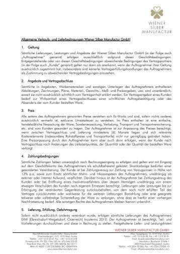 Allgemeine Verkaufs- und Lieferbedingungen - Wiener Silber ...