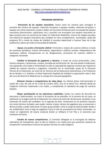 PROGRAMA DEPORTIVO - Web Jesus Garrido