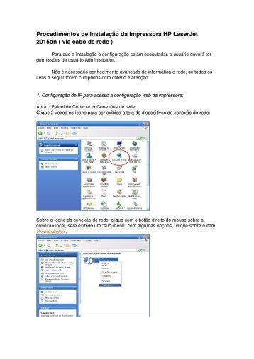 Procedimentos de Instalação da Impressora HP LaserJet 2015dn ...