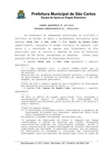 Resposta ao Questionamento - Prefeitura Municipal de São Carlos