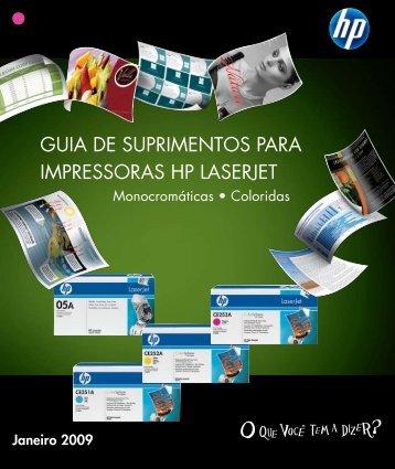 GUIA DE SUPRIMENTOS PARA IMPRESSORAS HP LASERJET