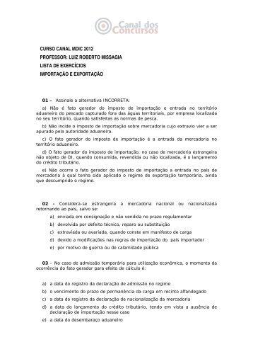 luiz roberto missagia lista de exercícios importação e exportação