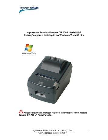 Drivers Mini Impressoras Daruma DR700/DR600/DS300/DS348