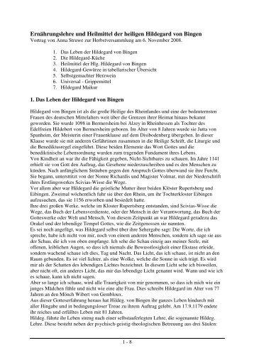 Ernährungslehre und Heilmittel der heiligen Hildegard von Bingen