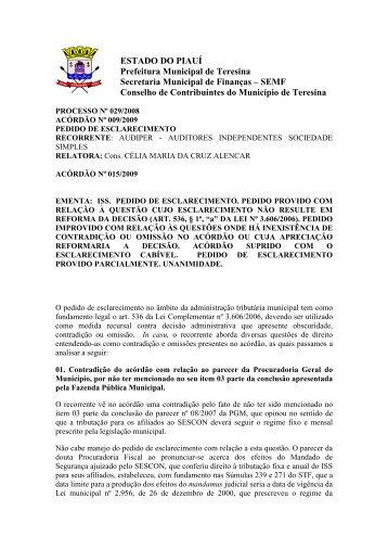 acórdão 2009/15 - Prefeitura Municipal de Teresina