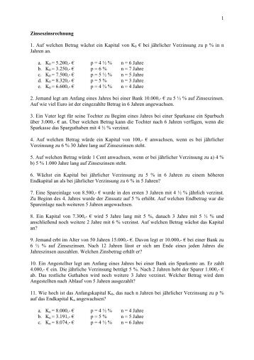 Arbeitsblätter Finanzmathematik Teil 2 - hlwkufstein.tsn.at