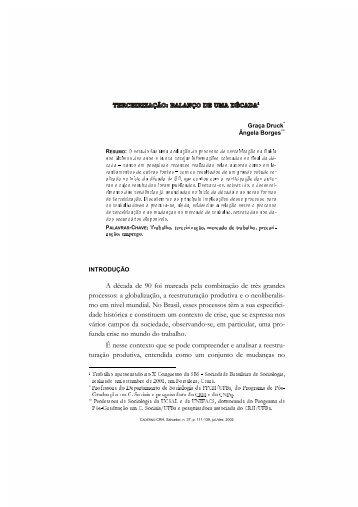 Arquivo PDF - Trabalho, Flexibilização e Precarização