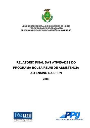 Relatório Final das Atividades do Programa Bolsa REUNI