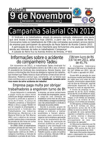 Boletim 830 - Sindicato dos Metalúrgicos da Região Sul Fluminense