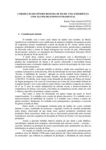 A PRODUÇÃO DO GÊNERO RESENHA DE FILME: UMA ... - GELNE