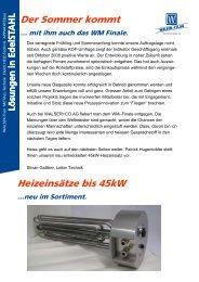 Der Sommer kommt Heizeinsätze bis 45kW - Walser + Co. AG