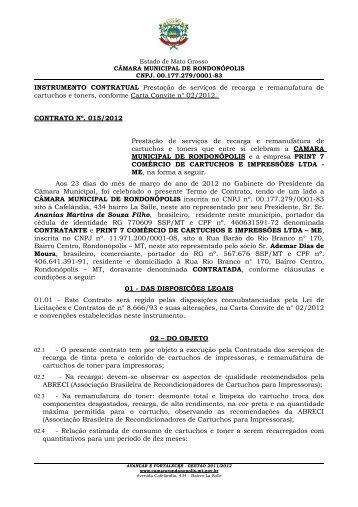 INSTRUMENTO CONTRATUAL Prestação de serviços de recarga e ...