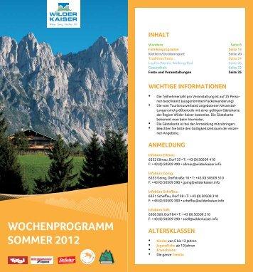 Wochenprogramm Sommer 2012 - Hotel Hochfilzer