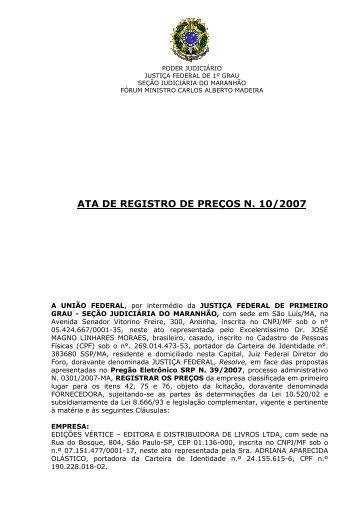 ARP 10.2007 - EDIÇÕES VÉRTICE - Justiça Federal