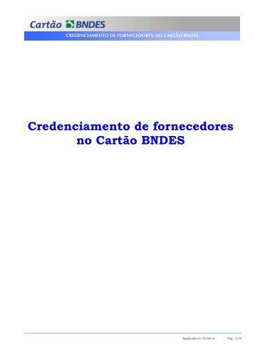 Manual do Fornecedor - Credenciamento (PDF) - Cartão BNDES