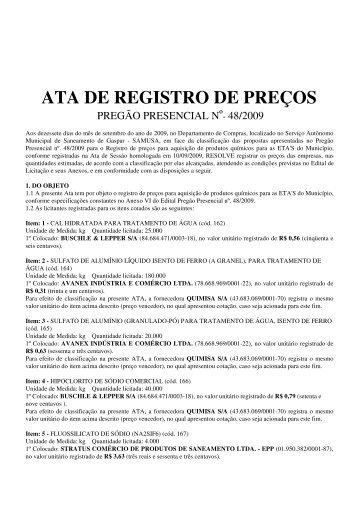 ATA DE REGISTRO DE PREÇOS - Samae Gaspar