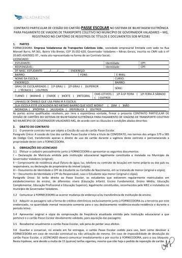 contrato particular de cessão do cartão passe escolar no sistema de ...