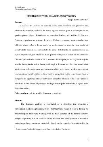 SUJEITO E SENTIDO - revista Icarahy - UFF