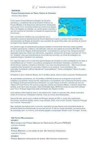 TIMOR-LESTE (FALANTIL-FDTL)[1] . - Jornal de Defesa e Relações ...