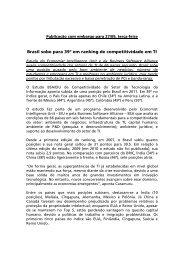 Competitividade do Brasil em TI é 39ª global, diz estudo - BSA
