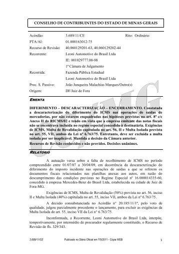 3689 - Secretaria de Estado de Fazenda de Minas Gerais