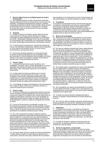 Condições Gerais de Venda e fornecimento Weitmann ... - WEKO