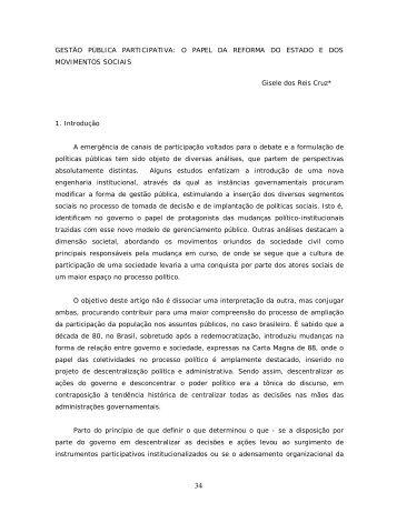 GESTÃO PÚBLICA PARTICIPATIVA - Revista de Ciência Política