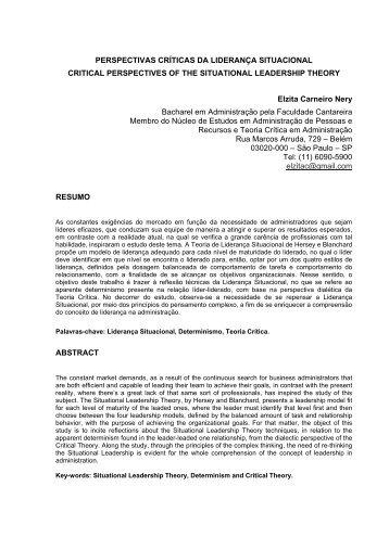 Perspectivas Críticas da Liderança Situacional - Faculdade Cantareira