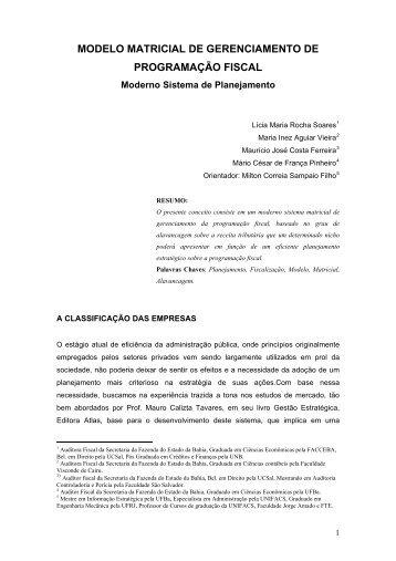 modelo matricial de gerenciamento de programao fiscal - Sefaz Net