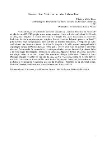 1 Literatura e Artes Plásticas na vida e obra de Osman Lins ... - UnB