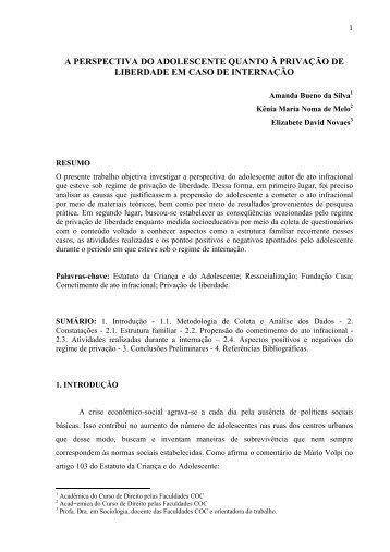 A PERSPECTIVA DO ADOLESCENTE QUANTO À PRIVAÇÃO DE ...