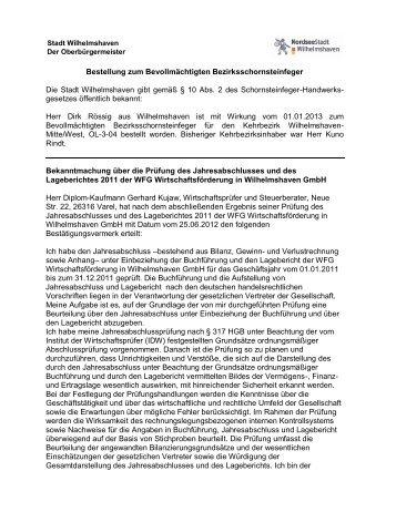 Bestellung zum Bevollmächtigten Bezirksschornsteinfeger Die Stadt ...