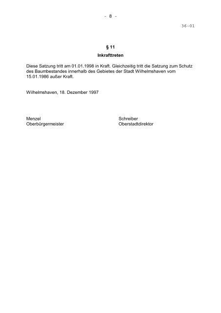 Baumschutzsatzung - Stadt Wilhelmshaven