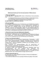 Wahlbekanntmachung für die Kommunalwahlen in Wilhelmshaven ...