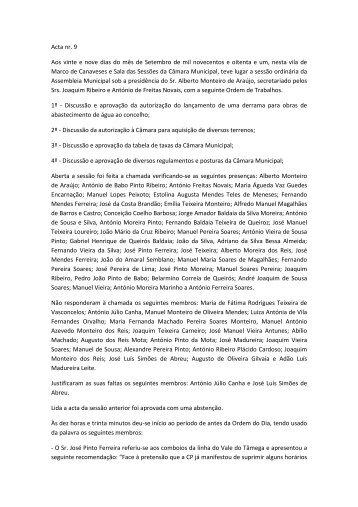 Acta nr. 9 Aos vinte e nove dias do mês de Setembro de mil ...