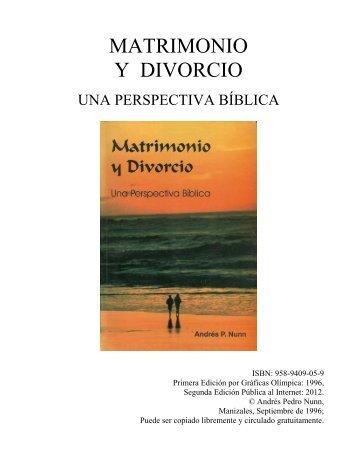 MATRIMONIO Y DIVORCIO, Una Perspectiva Bíblica