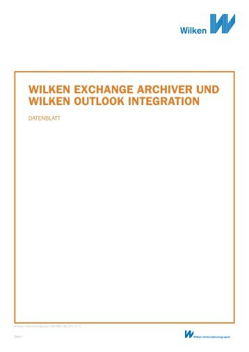 wilken exchange archiver und wilken outlook ... - Wilken GmbH