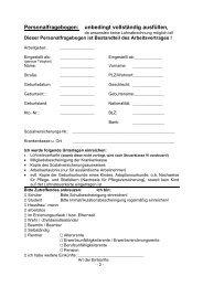 Personalfragebogen: unbedingt vollständig ... - Wilming & Kilian