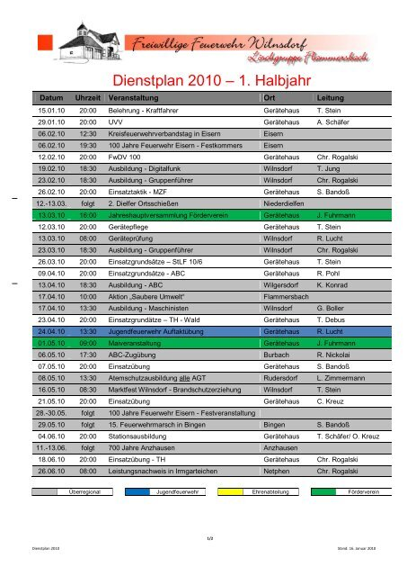 Dienstplan 2010 2 Ha