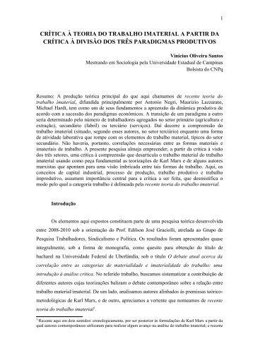 crítica à teoria do trabalho imaterial a partir da crítica à divisão dos ...