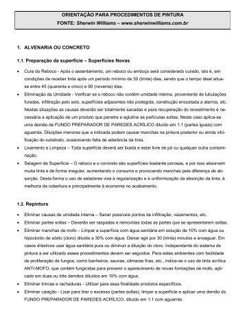 ORIENTAÇÃO PARA PROCEDIMENTOS DE PINTURA FONTE ...