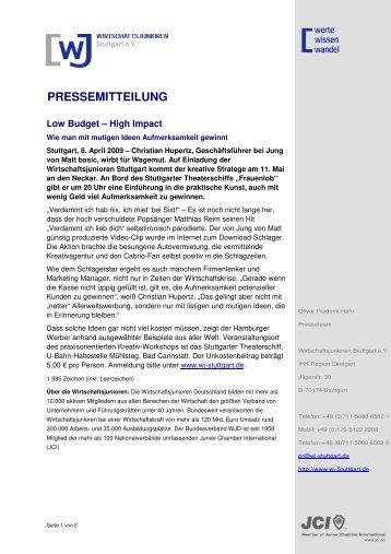 PRESSEMITTEILUNG - Wirtschaftsjunioren Stuttgart