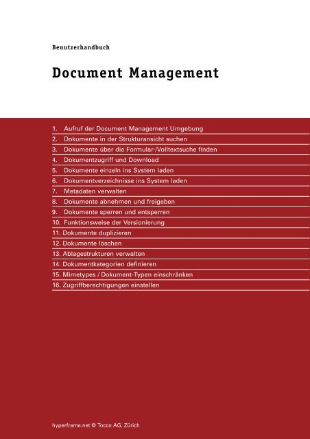 Document Management - Tocco AG